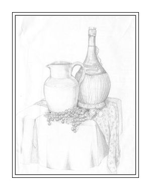 Pencil Sketch of wine table