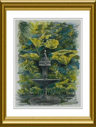Painting of Fountain associated with Dylan Thomas