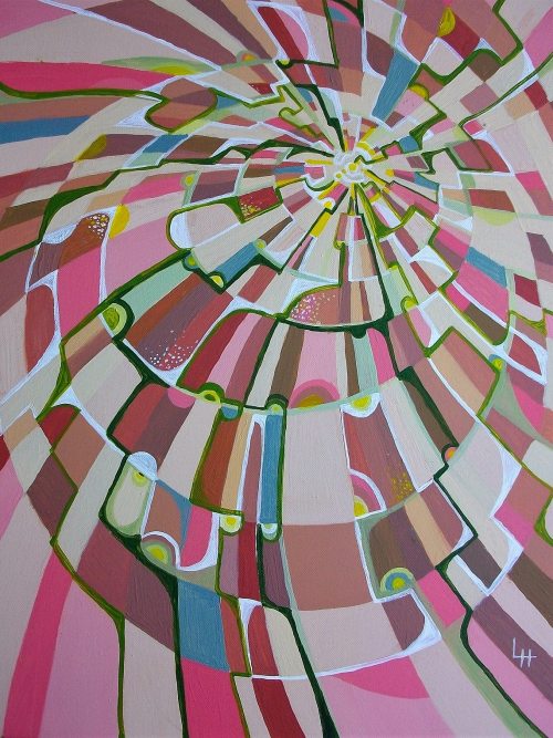 Pink Spiral, a Painting by Lilian Hopkins