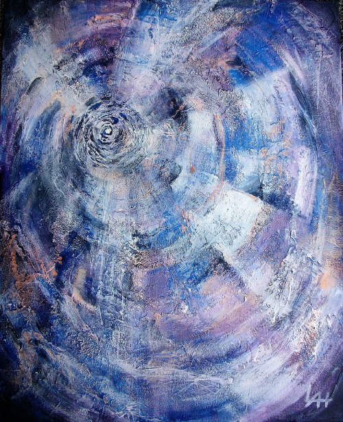 Blue Spiral 2017, a Painting by Lilian Hopkins