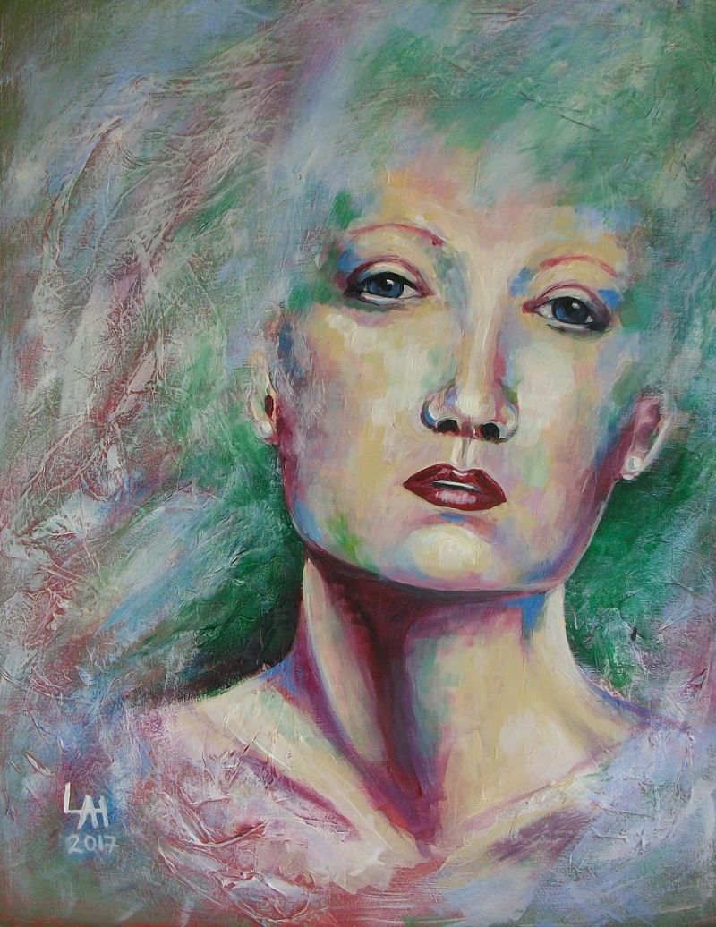 mixed media Portrait by Lilian Hopkins
