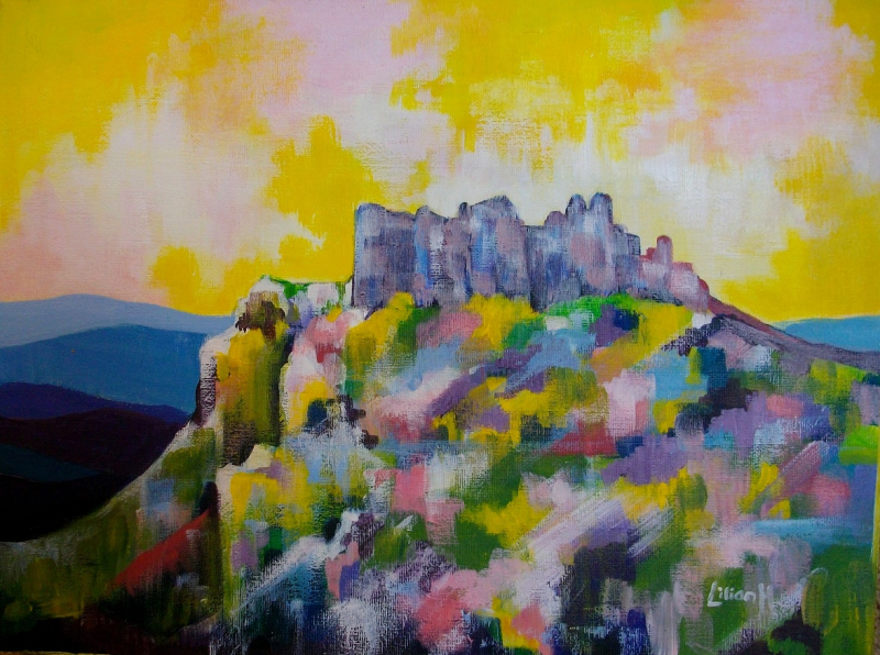 Painting of Carreg Cennen Castle 2017m