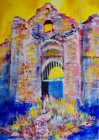 Abstract Painting - Oystermouth Castle 2017