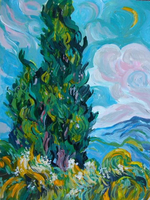 Van Gogh 'Cypress' Homage