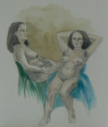Quick Double Sketch Of Nude Woman