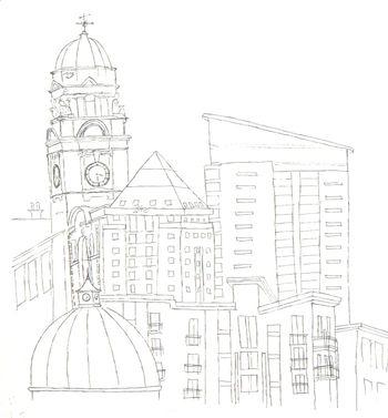 Swansea Rooflines Sketch 3